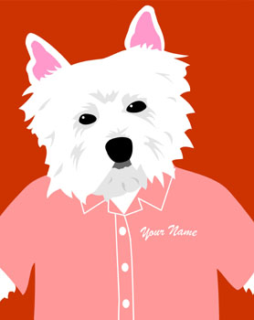 West Highland Terrier Dog Customized Name Pop Art Print
