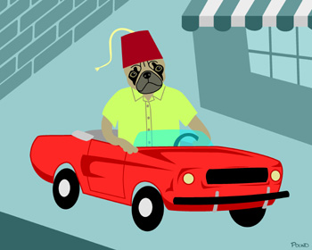 Pug Dog Fez Shriner Mustang Original Pop Fine Art Print