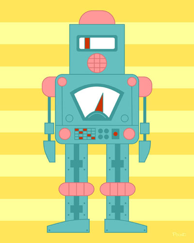 Siren Robot Original Pop Art Print