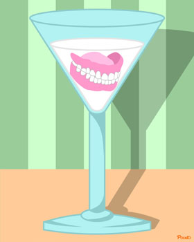 False Teeth Martini Glass Outsider Pop Weird Art Print