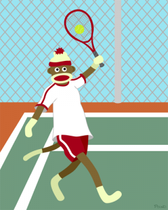 Sock Monkey Tennis Player