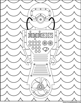 robot adult coloring page
